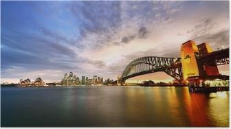 Poster Sydney Harbor Panorama bij schemering