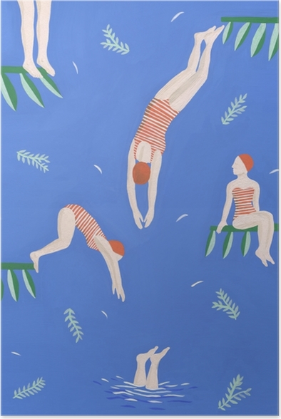 Poster Synchroonzwemmen meisjes - Mathilde Rives - Hedendaagse kunstenaars