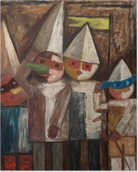 Poster Tadeusz Makowski - Carnaval des enfants avec un drapeau - Reproductions