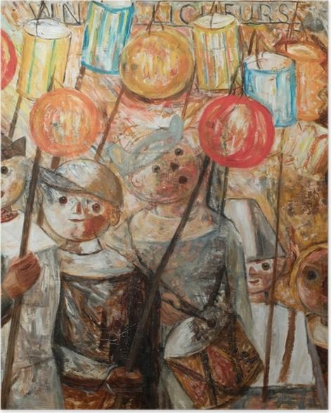 Poster Tadeusz Makowski - Enfants avec des torches - Reproductions