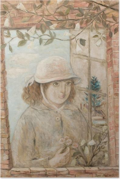 Poster Tadeusz Makowski - Fenêtre en fleurs - Reproductions