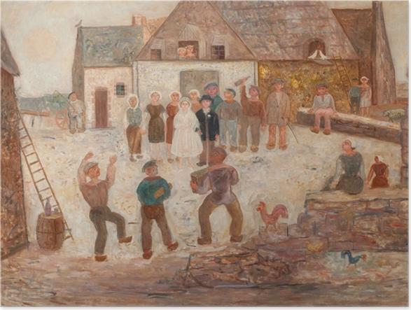Poster Tadeusz Makowski - Svatba ve vesnici - Reproductions