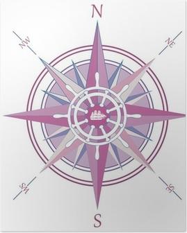 Poster Tappning vindros kompass