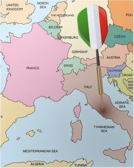 Target - Italy. Dart hitting in Italy on the Europe map. Poster