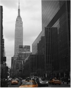 Póster Taxis amarillos en la Calle 35, Manhattan, Nueva York