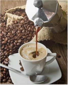 tazza di caffè con moka Poster