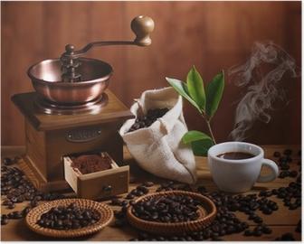 tazza di caffè espresso con macinino in legno Poster