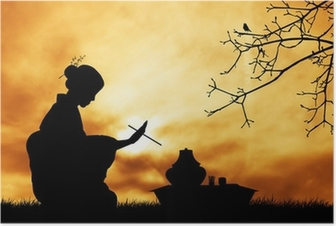 Tea ceremony at sunset Poster