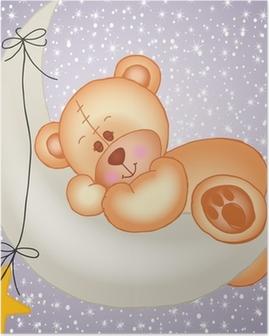 Teddy bear sleeping on a moon Poster