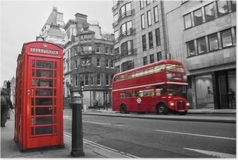 Poster Telefooncel en rode bus in Londen (UK)
