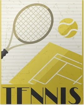 Tennis. Retro poster in flat design style. Poster