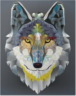 Poster Tête de loup motif géométrique. vecteur