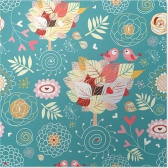 Poster Texture décoratif avec des arbres d'automne et oiseaux dans l'amour
