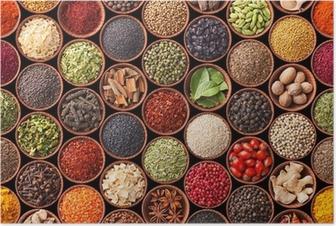 Poster Texture homogène avec des épices et des herbes