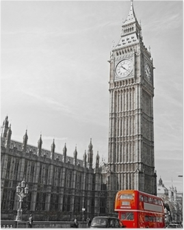 The Big Ben, the House of Parliament and the Westminster Bridge Poster