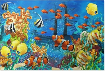 The coral reef - illustration for the children Poster