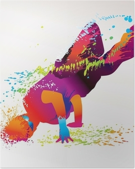 The dancing boy with colorful spots and splashes. Vector Poster
