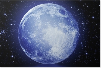 The full moon in the night sky reflected in water Poster
