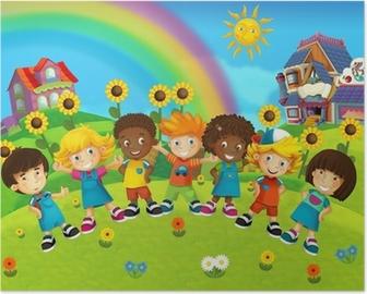 The group of happy preschool kids Poster