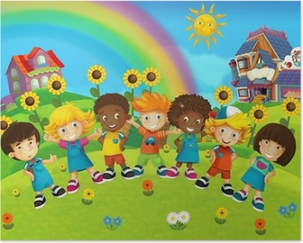 The group of happy preschool kids Poster
