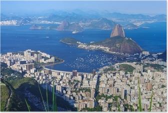 The mountain Sugar Loaf and Botafogo in Rio de Janeiro Poster
