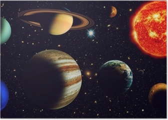 The sun and nine planets of our system orbiting Poster