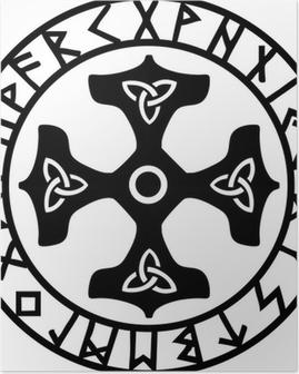 Thors Hammer, Runen Kreis Poster