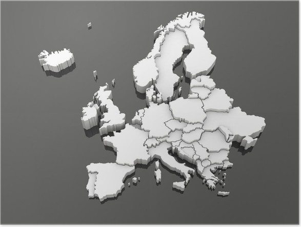 Three Dimensional Map Of Europe Poster Pixers We Live To Change
