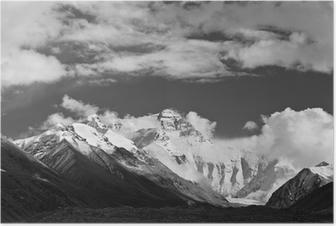 Poster Tibet: mount everest in zwart-wit