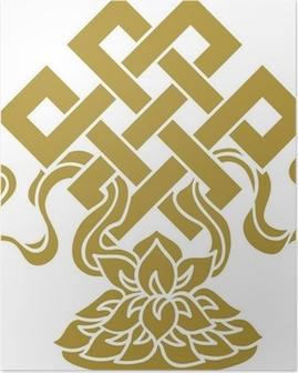 Tibetanischer Endlos Knoten, Lotus Schale - Glückssymbol Poster