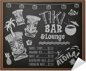 Tiki Bar and Lounge Chalkboard Cocktail Menu Poster