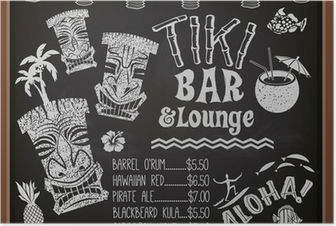 Poster Tiki Bar and Lounge Tableau Cocktail Menu