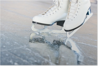 Poster Tilted natuurlijke versie, schaatsen met reflectie