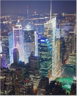 Times Square aerial view at night Poster
