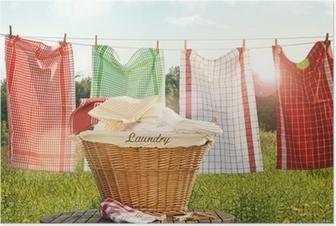 Póster Toallas de algodón secado en el tendedero