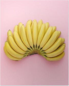 Top view of ripe bananas on a bright pink background. Minimal style. Poster