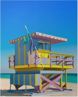 Poster Toren van de badmeester in South Beach, Miami Beach, Florida
