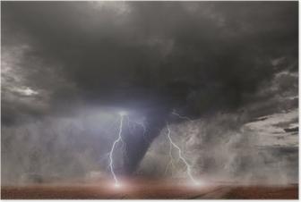 Poster Tornado met bliksem over een veld