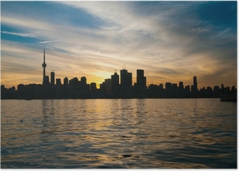 Toronto city skyline at sunset Poster