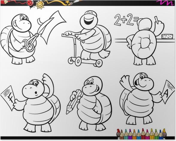 Póster Tortuga de la escuela para colorear de dibujos animados ...