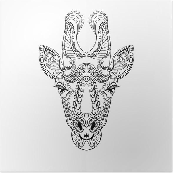 Póster Tótem de la cabeza de Zentangle de la jirafa por un adulto ...