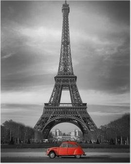 Poster Tour Eiffel et voiture rouge-Parijs