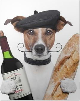 Poster Toutefois, le rapport français baguette vin