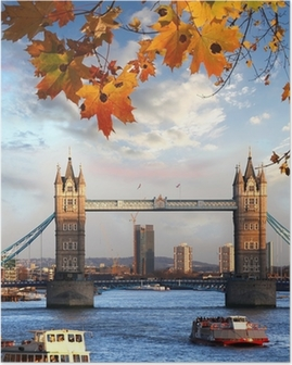 Poster Tower Bridge met herfstbladeren in Londen, Engeland
