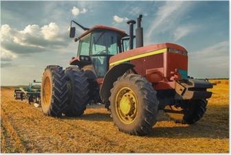 Poster Tracteur sur le terrain agricole