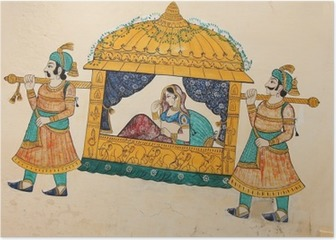 Traditional ancient wall painting of indian woman being taken Poster