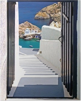 Traditional architecture of Oia village on Santorini island, Gre Poster