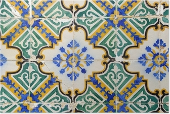 Traditional portuguese tiles, Azulejos Poster