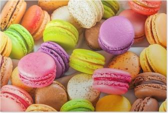 Poster Traditionele Franse kleurrijke macarons in een doos