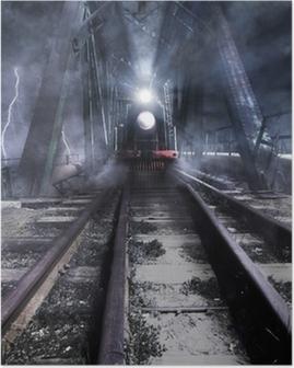 train rides over the bridge Poster